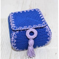 Шкатулка закругленная квадратная с крышкой синяя