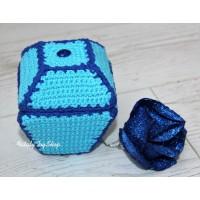 Шкатулка квадратная с крышкой голубая