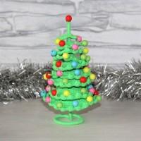 Новогодняя Елочка ярко-зеленая с разноцветными бусинами