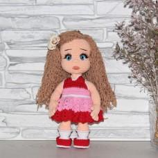 Кукла Девочка Синеглазка в розовом платье вязаная крючком